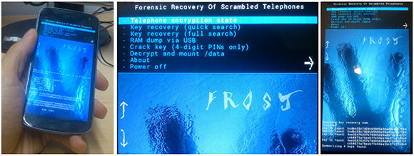 Photos of FROST in action, extracting encrypted data from Android