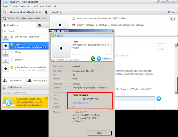 Screen shot demonstrating XSS bug in Skype 5.5.0.113