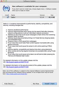 Safari 5.1.4 'Software Update' notice