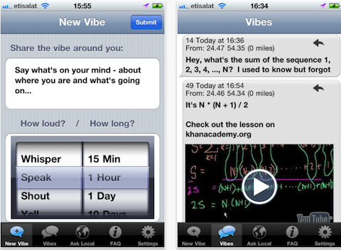 Vibe app screengrab, credit Zami from iTunes