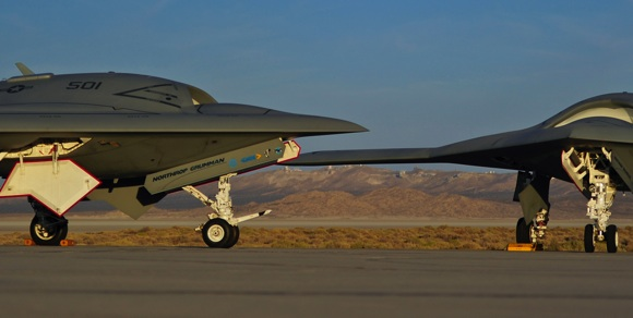 Air Vehicles 1 and 2 of the X-47B UCAS-D project on the flight line at Edwards. Credit: Northrop Grumman