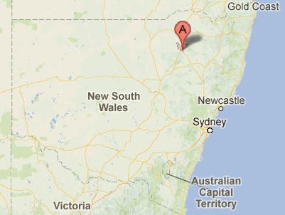 Map showing Narrabri in NSW