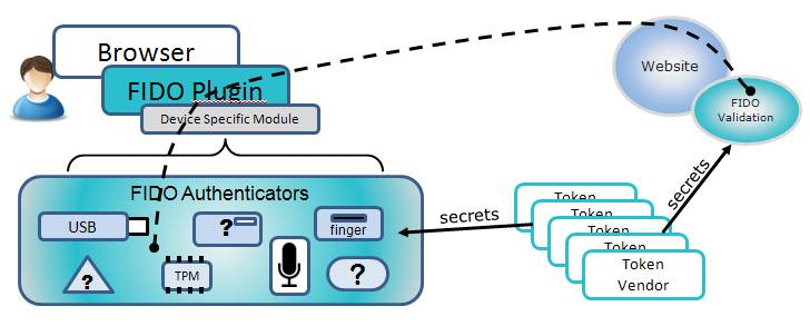 The FIDO Alliance's diagram explaining how its authentication scheme works
