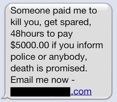 SMS death threat scam
