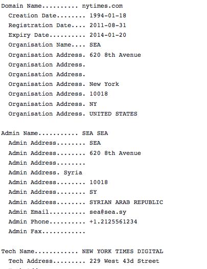 NY Times domain record