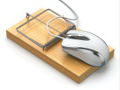 Mouse on mousetrap. Image courtesy of Shutterstock