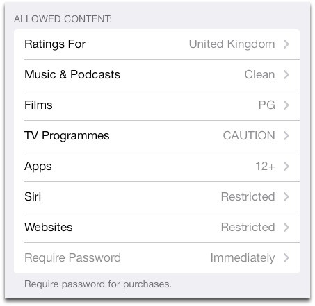 Allowed content - iOS