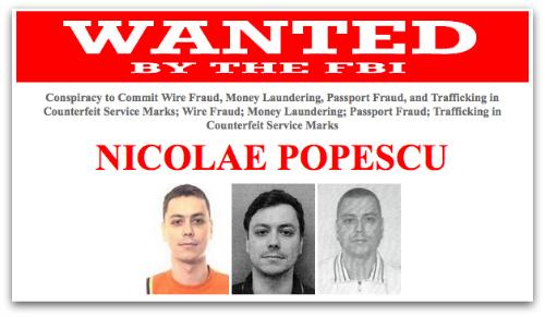FBI wanted poster of Nicolae Popescu