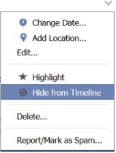 Hide from Facebook Timeline