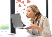Image of online dating woman, courtesy of Shutterstock