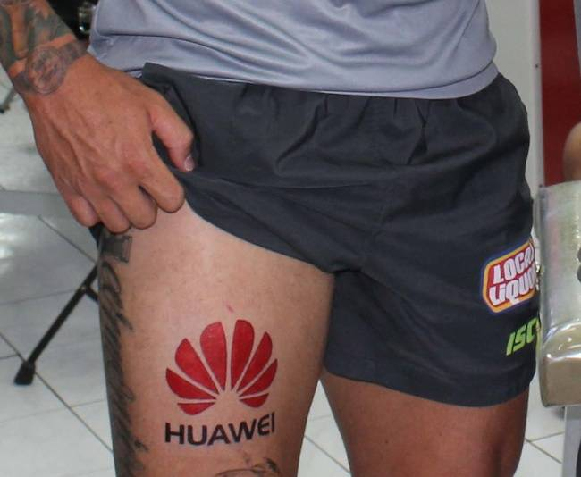A fake tattoo on the leg of Canberra Raiders footballer Sandor Earl, sent by Huawei as an April Fool