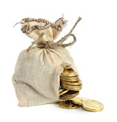 Money spilling out of hole in bag, image courtesy of Shutterstock