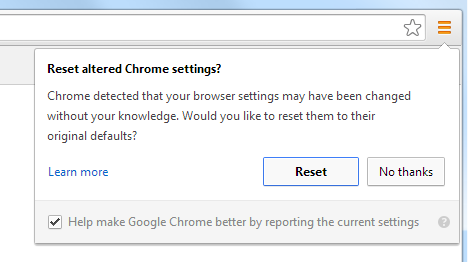 Chrome reset button screenshot
