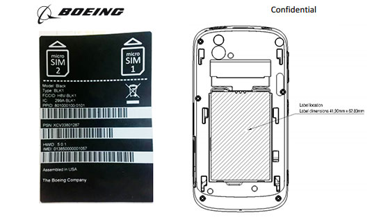 Diagram of the Boeing Black secure smartphone