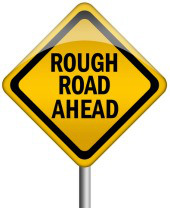 Rough road ahead sign. Image courtesy of Shutterstock