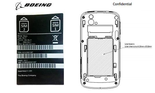 Diagram of the Boeing Black secure smartphone